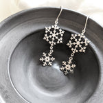 Snowflake Dangle Earrings Gold / Silver