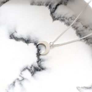 Crescent Moon Necklace silver- Celestial layering Necklace