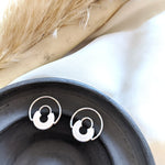 Round Lock minimalist stud Earrings silver