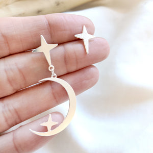 statement moon crescent post earrings silver