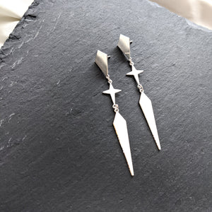 Rhombus and star long Twain Earrings silver