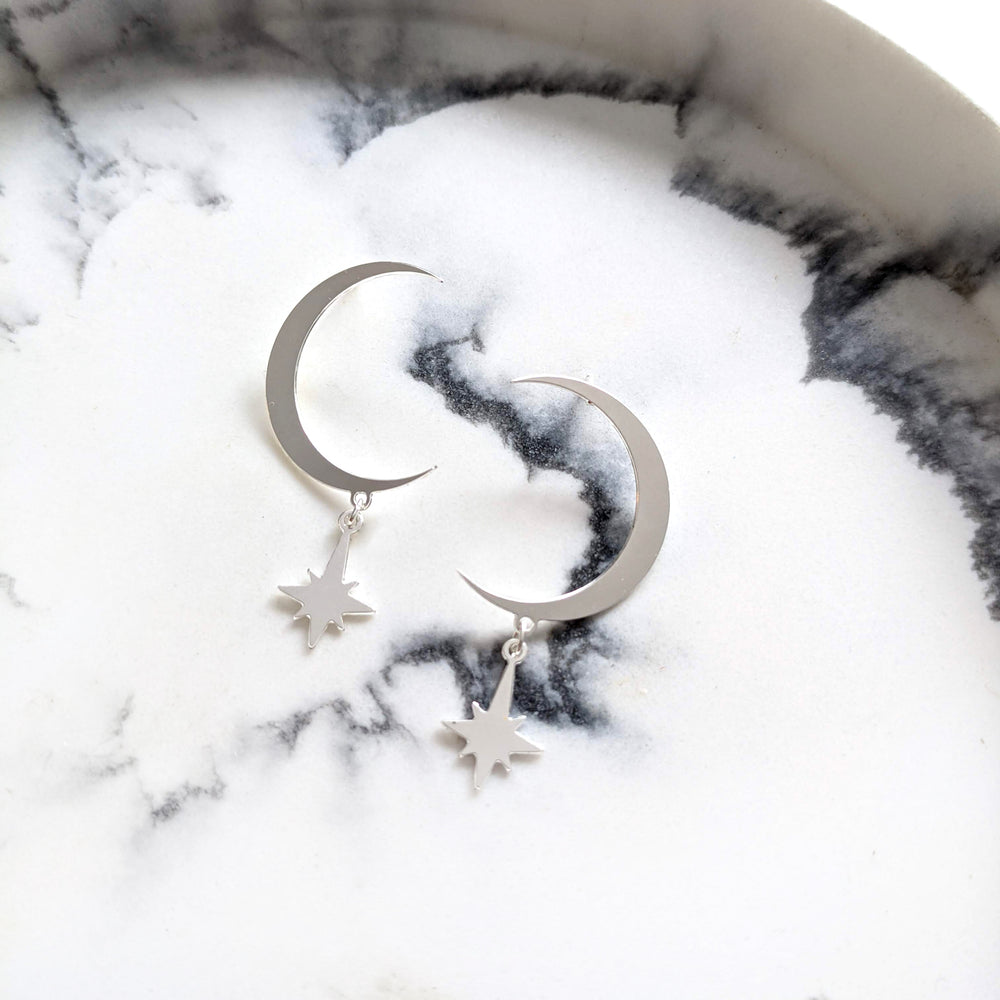 Moon wit hanging star Studs Earrings silver