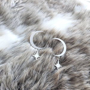 Crescent Moon and small star earrings