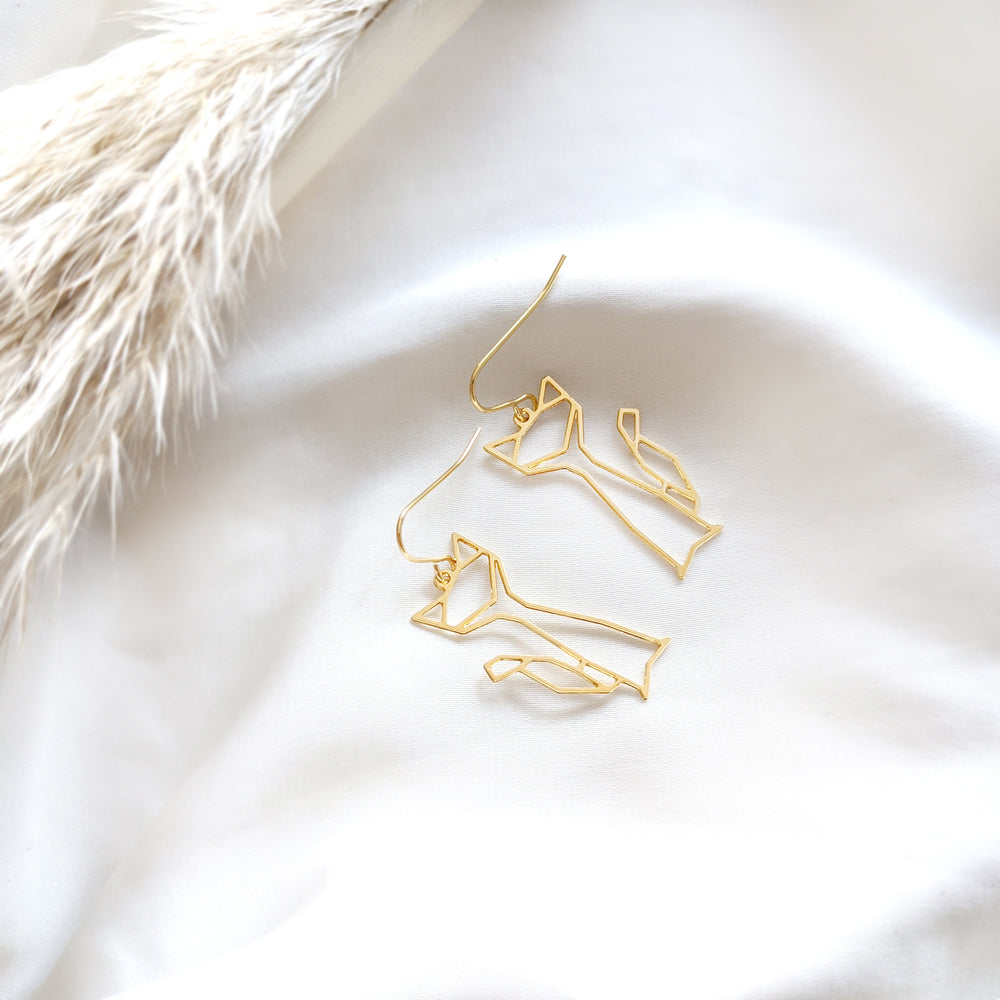 Cat dangle Earrings Gold / Silver