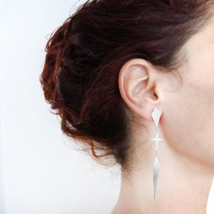 Load image into Gallery viewer, Rhombus and star long Twain Earrings silver