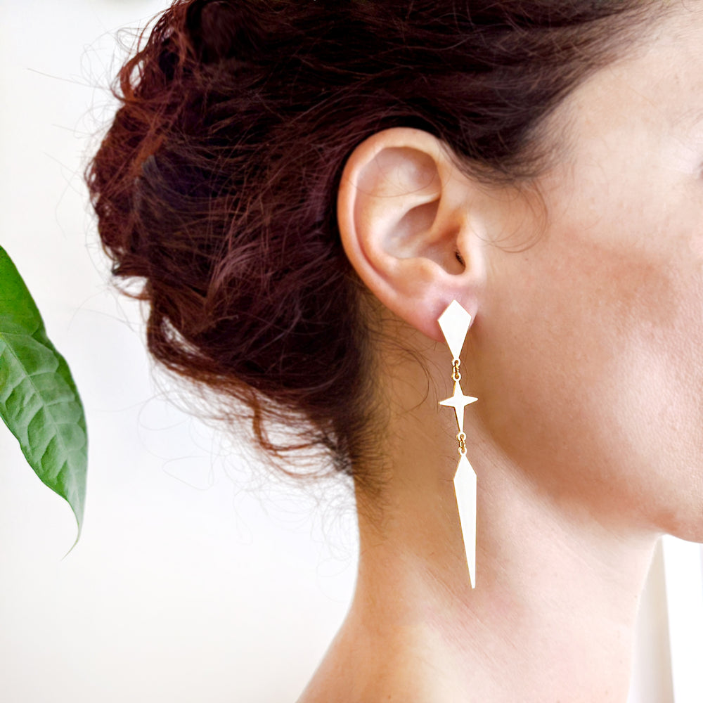 Load image into Gallery viewer, Rhombus and star long Twain Earrings gold
