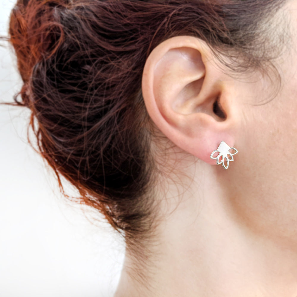 Load image into Gallery viewer, Silver Lotus Studs Lotus Earrings on a model