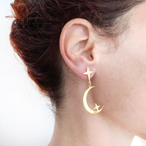 Load image into Gallery viewer, Star and Moon Studs Earrings on a model