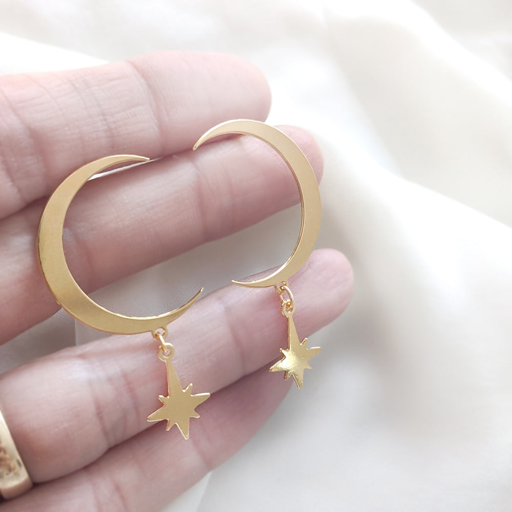 statement moon crescent post earrings