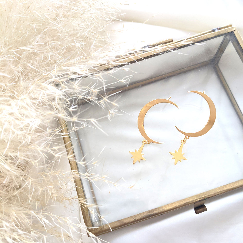 Moon with hanging star Studs Earrings gold