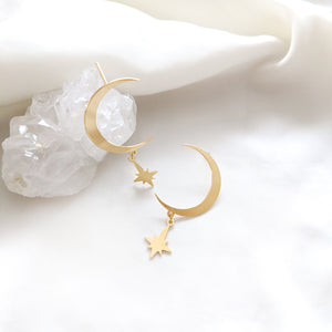 Moon Studs Earrings gold