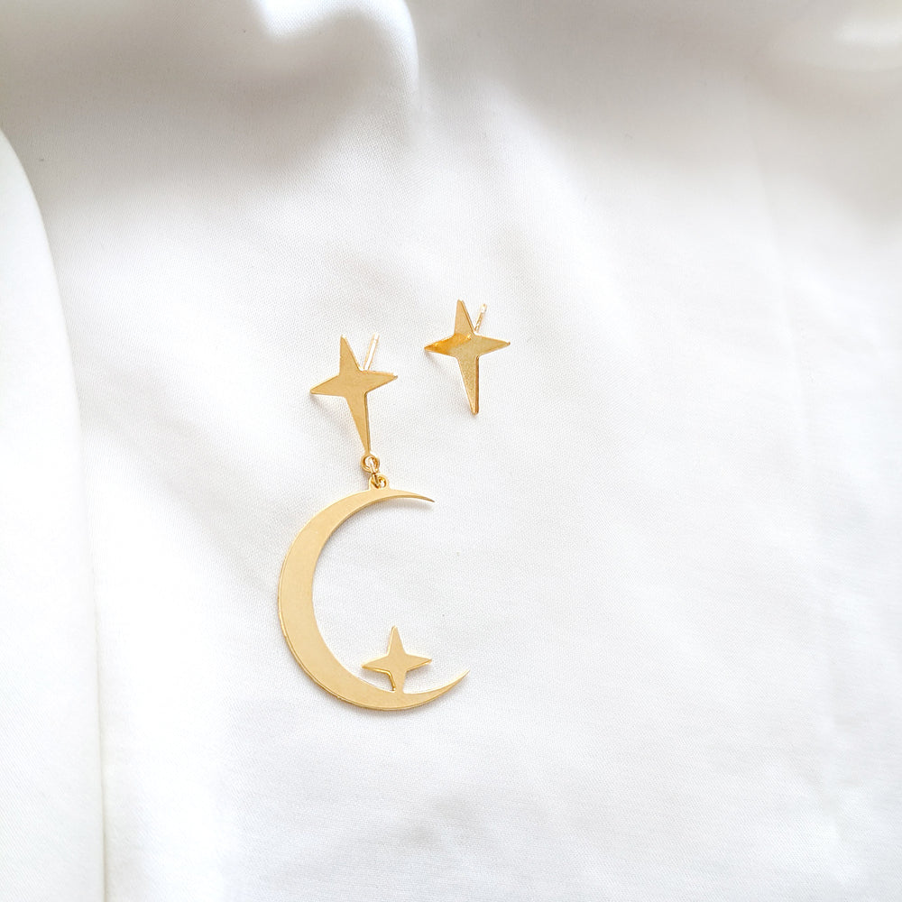 statement moon crescent stud and star stud earrings