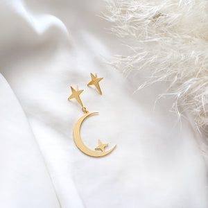 Star and Moon Studs Earrings gold