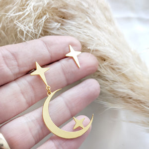 statement moon crescent post earrings gold