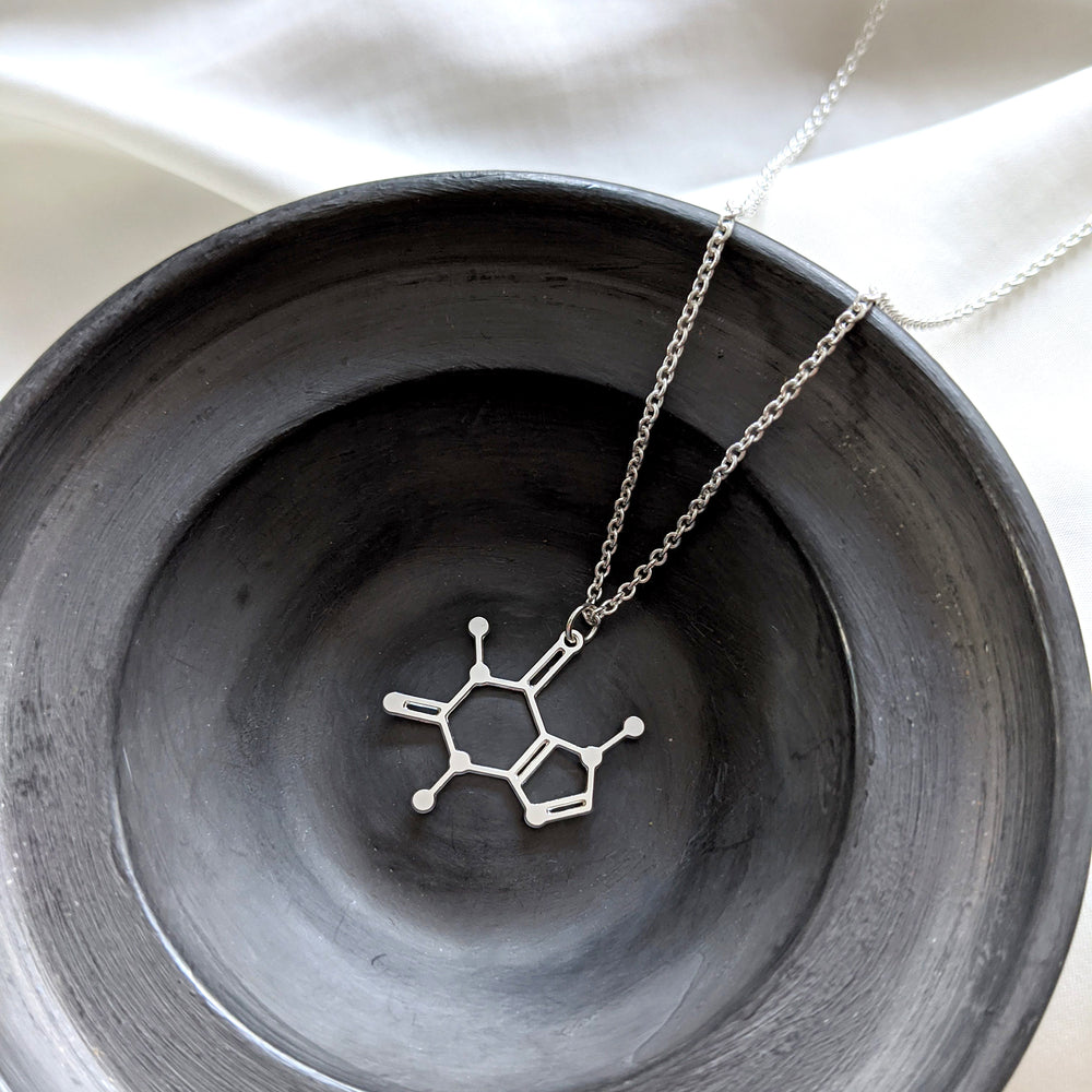 Load image into Gallery viewer, Caffeine Molecule Necklace Gold / Silver