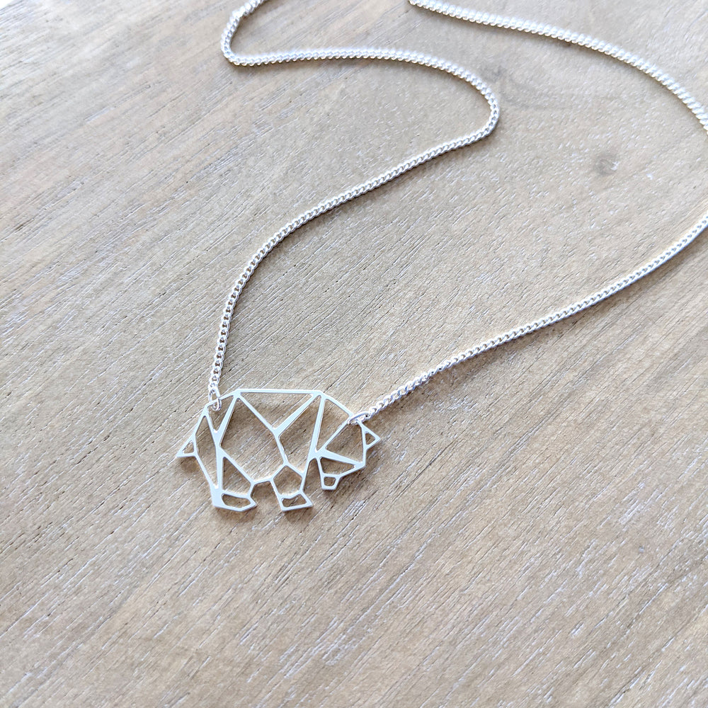 Origami Bear Necklace, Mama Bear Gold / Silver