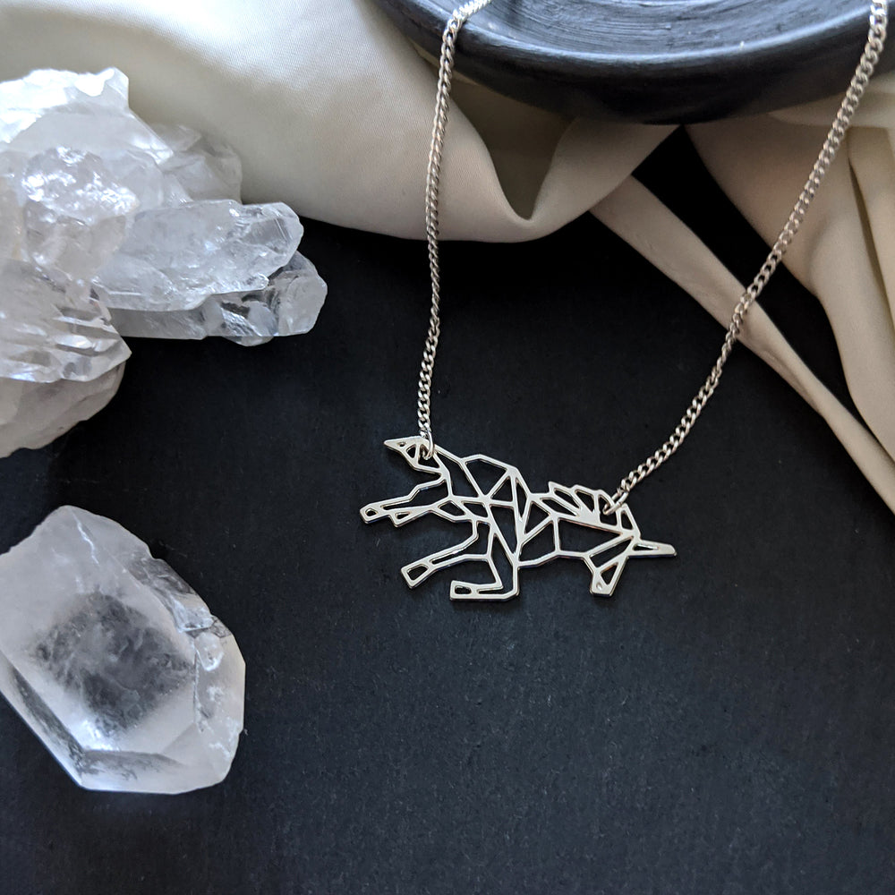 Geometric Unicorn Necklace Gold / Silver