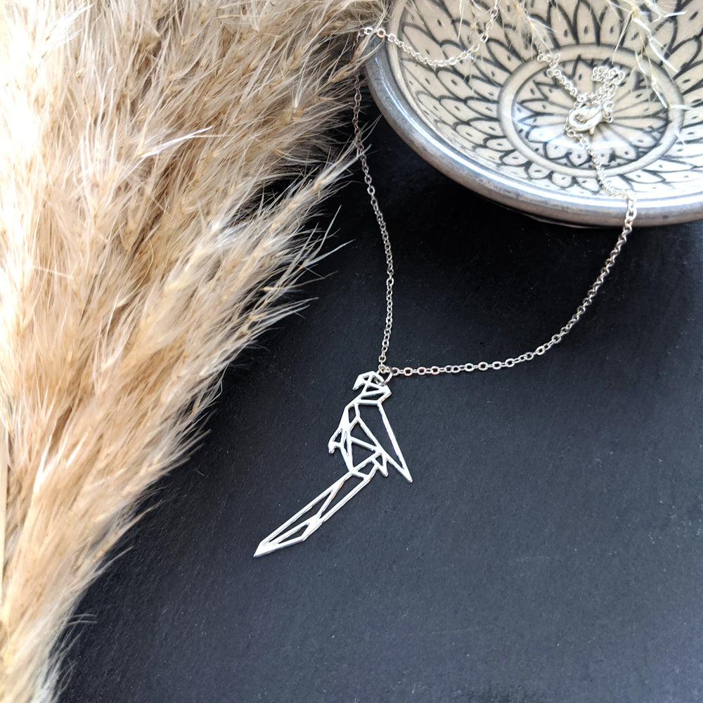 Origami Parrot Necklace Gold / Silver
