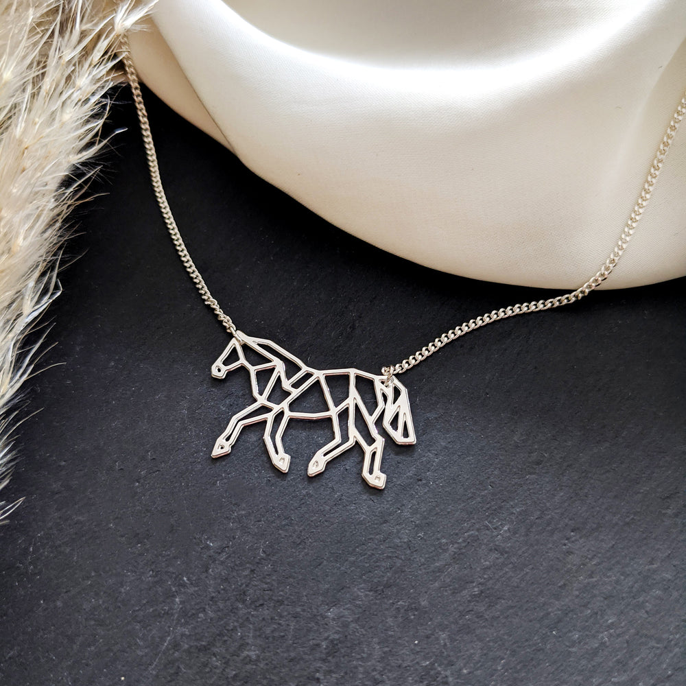 Origami Horse Necklace Gold / Silver