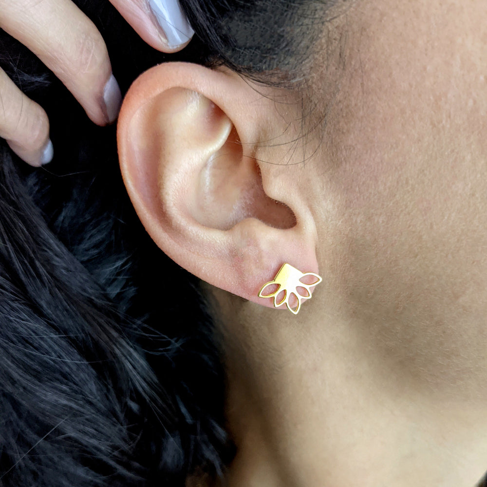 Load image into Gallery viewer, Lotus Studs Lotus Earrings Gold / Silver
