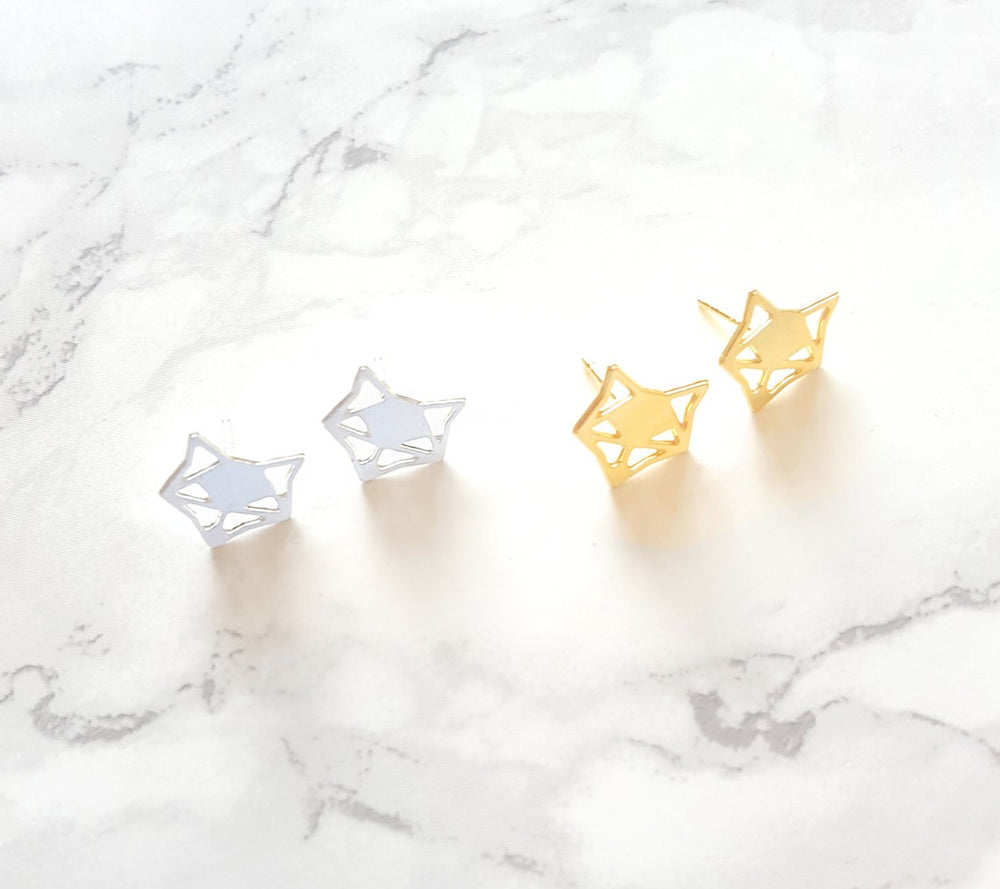 Origami Geometric Fox Studs Gold / Silver - Shany Design Studio Jewellery Shop