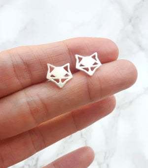 Load image into Gallery viewer, Origami Geometric Fox Studs Gold / Silver - Shany Design Studio Jewellery Shop