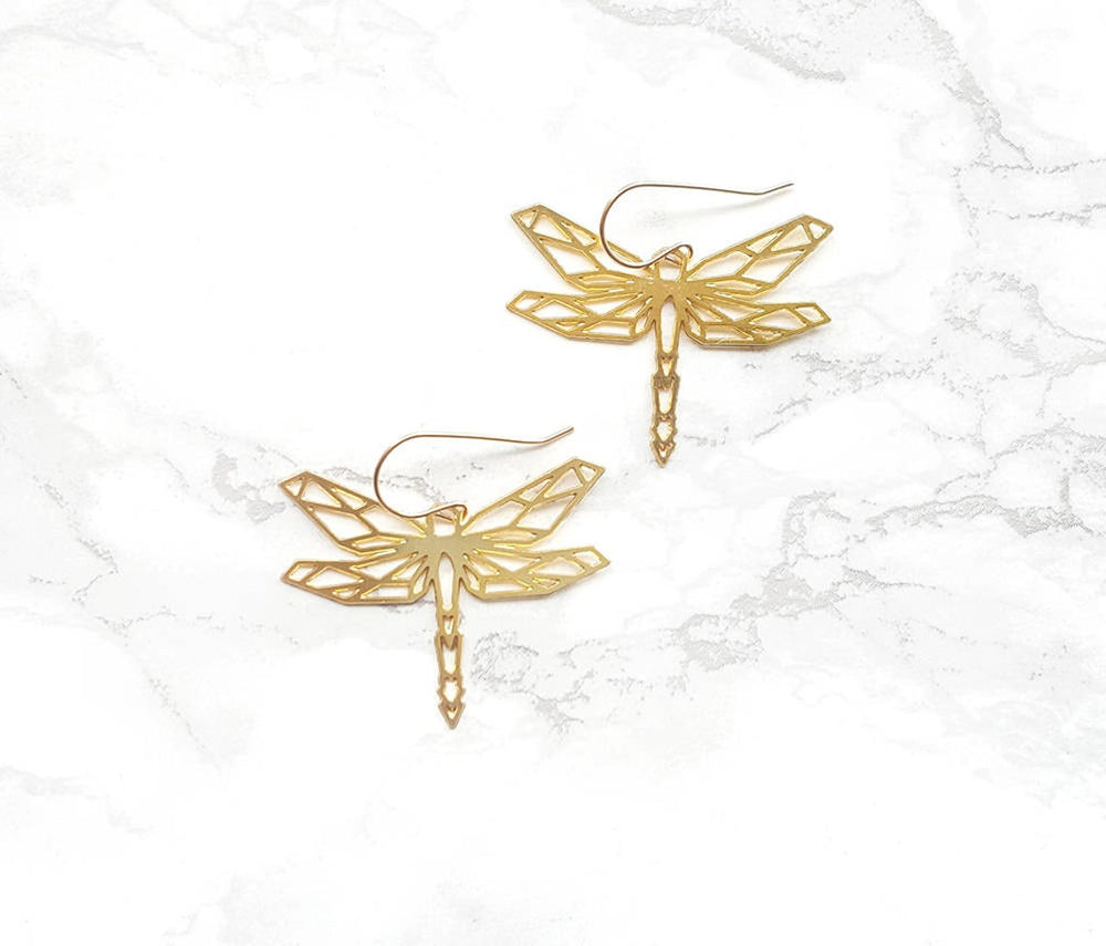 Dragonfly origami geometric  Earrings Gold / Silver