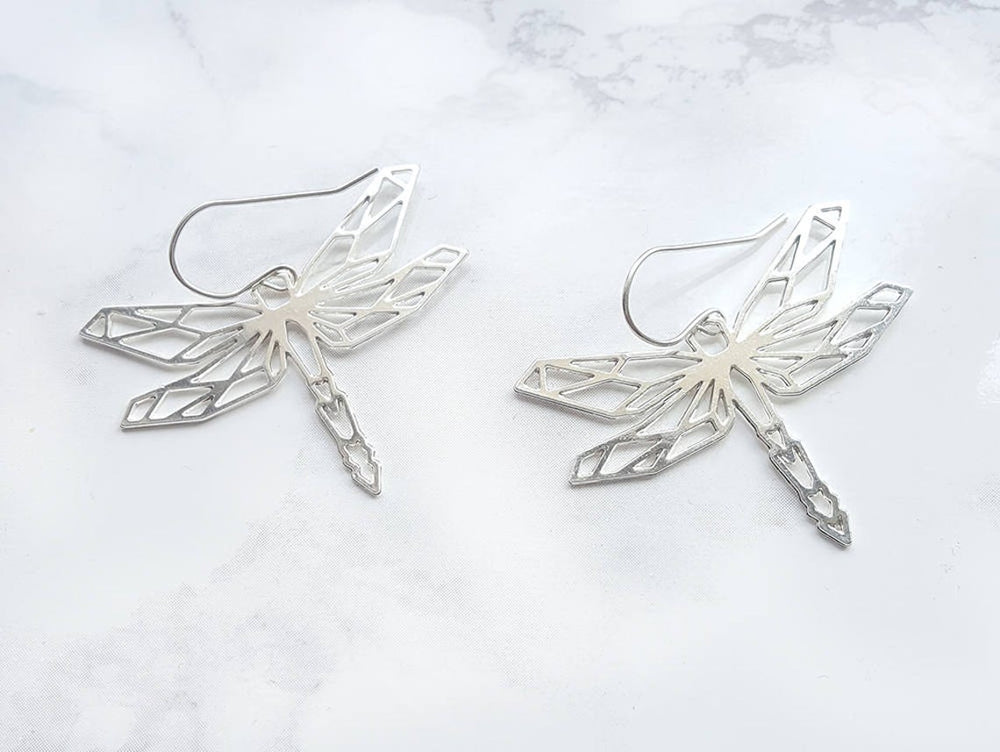 Dragonfly origami geometric  Earrings Gold / Silver - Shany Design Studio Jewellery Shop