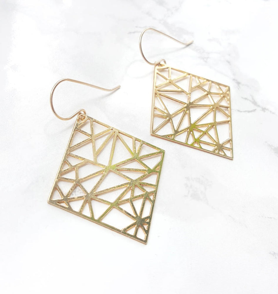 Geometric square Earrings Gold / Silver