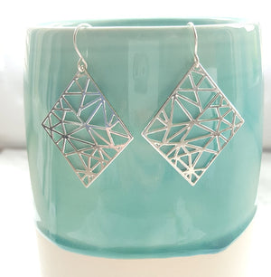 Geometric square Earrings Gold / Silver - Shany Design Studio Jewellery Shop