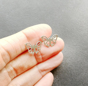 Origami Geometric Butterfly Stud earrings Gold / Silver - Shany Design Studio Jewellery Shop