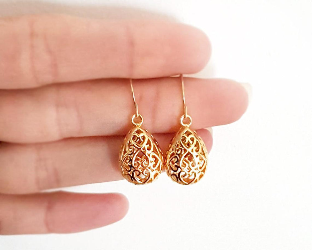 Filigree drop earrings Gold / Silver