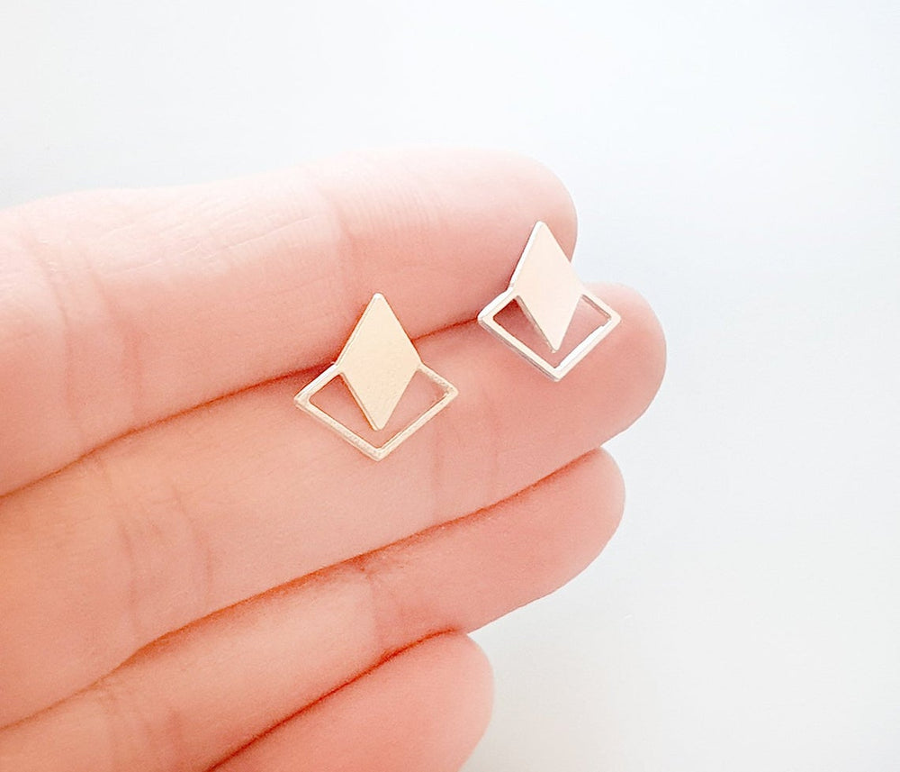 Rhombus Diamond Twain Stud Earrings Gold / Silver - Shany Design Studio Jewellery Shop