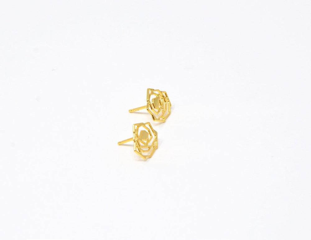 Rose Flower Stud Earrings Gold / Silver - Shany Design Studio Jewellery Shop