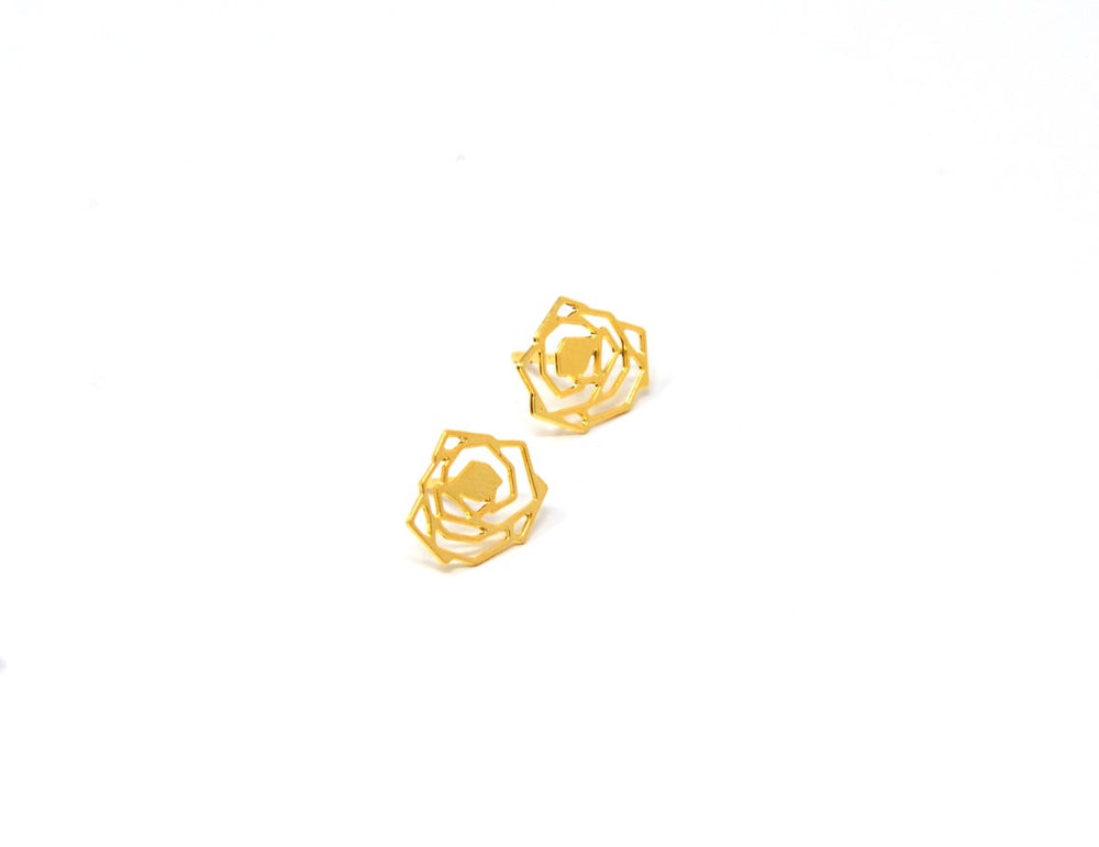 Rose Flower Stud Earrings Gold / Silver