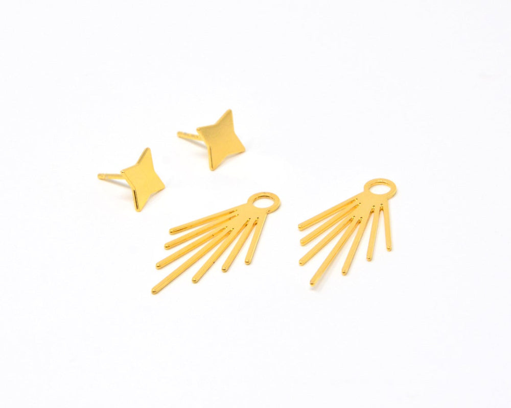Stars Ear Jackets Fireworks Earrings Gold / Silver - Shany Design Studio Jewellery Shop