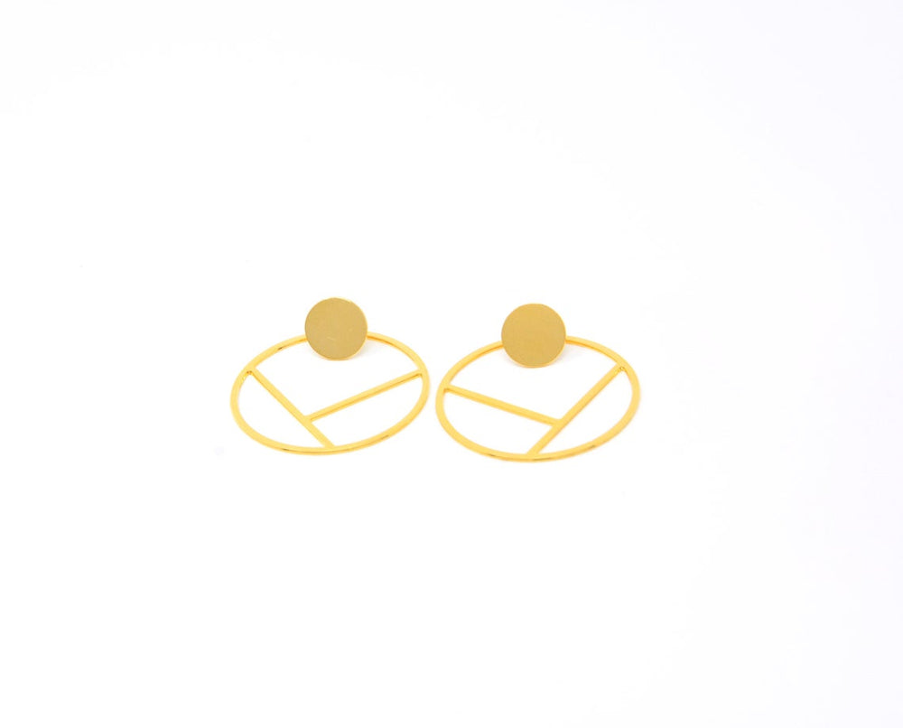 Outlined Round Circle Ear Jackets Gold / Silver - Shany Design Studio Jewellery Shop