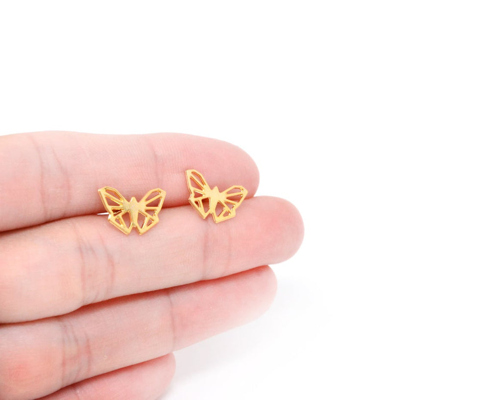 Origami Geometric Butterfly Stud earrings Gold / Silver