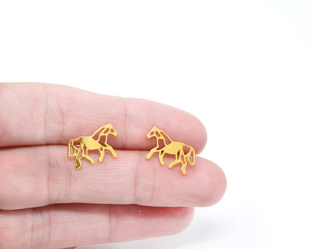 Origami Horse studs earrings Gold / Silver