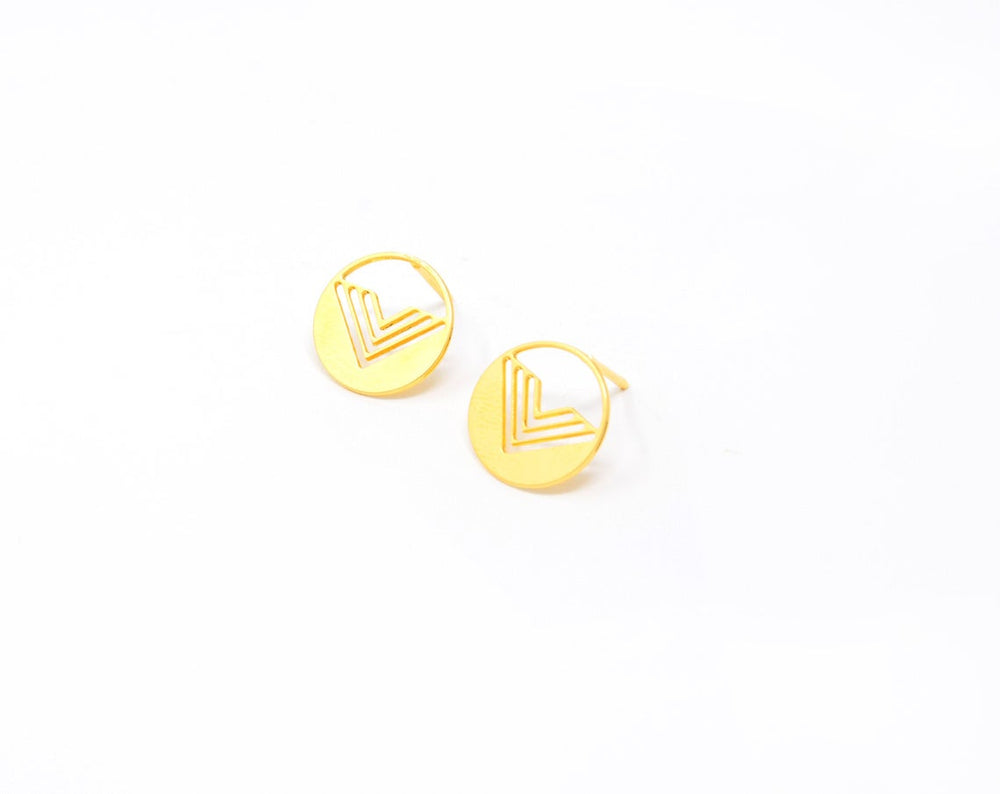 Round Gold Post Stud Earrings Gold / Silver - Shany Design Studio Jewellery Shop