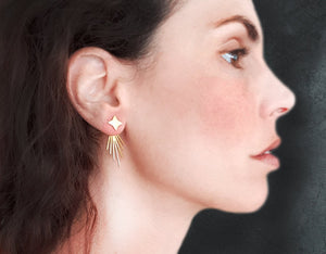 Load image into Gallery viewer, Stars Ear Jackets Fireworks Earrings Gold / Silver - Shany Design Studio Jewellery Shop