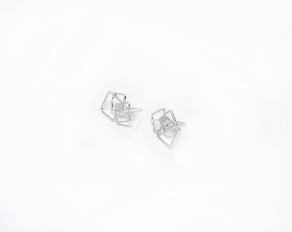 Square Post Stud Earrings Gold / Silver - Shany Design Studio Jewellery Shop