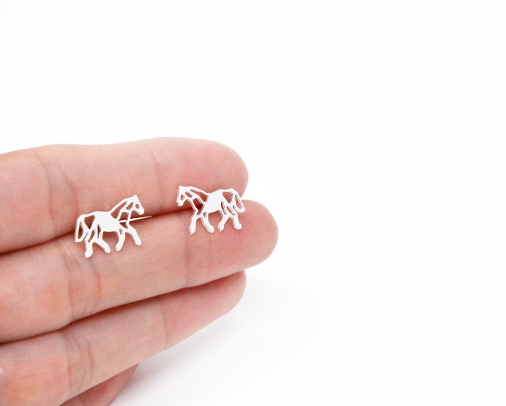 Origami Horse studs earrings Gold / Silver - Shany Design Studio Jewellery Shop