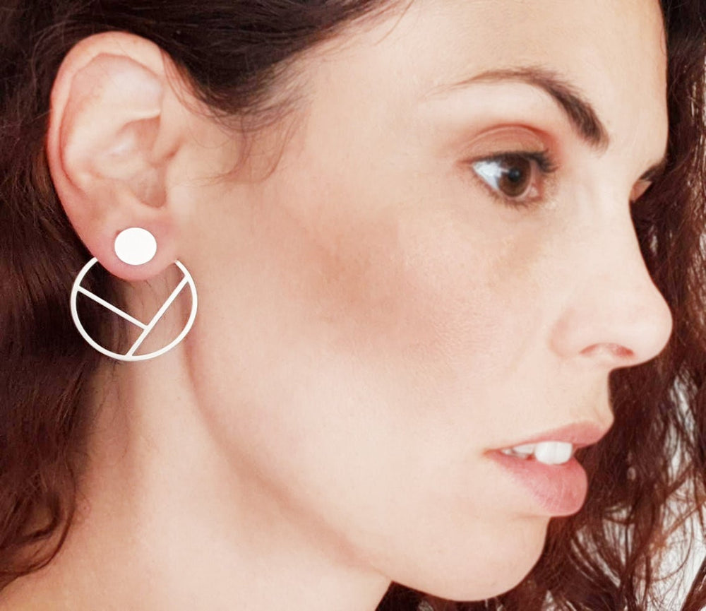 Outlined Round Circle Ear Jackets Gold / Silver