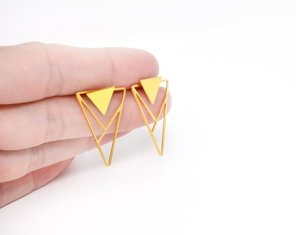 Triangle Ear jackets Geometric Earrings Gold / Silver - Shany Design Studio Jewellery Shop