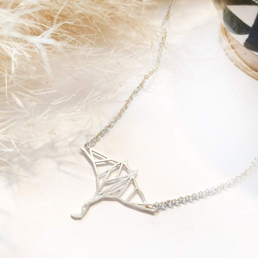 Origami manta ray fish necklace Gold / Silver - Shany Design Studio Jewellery Shop