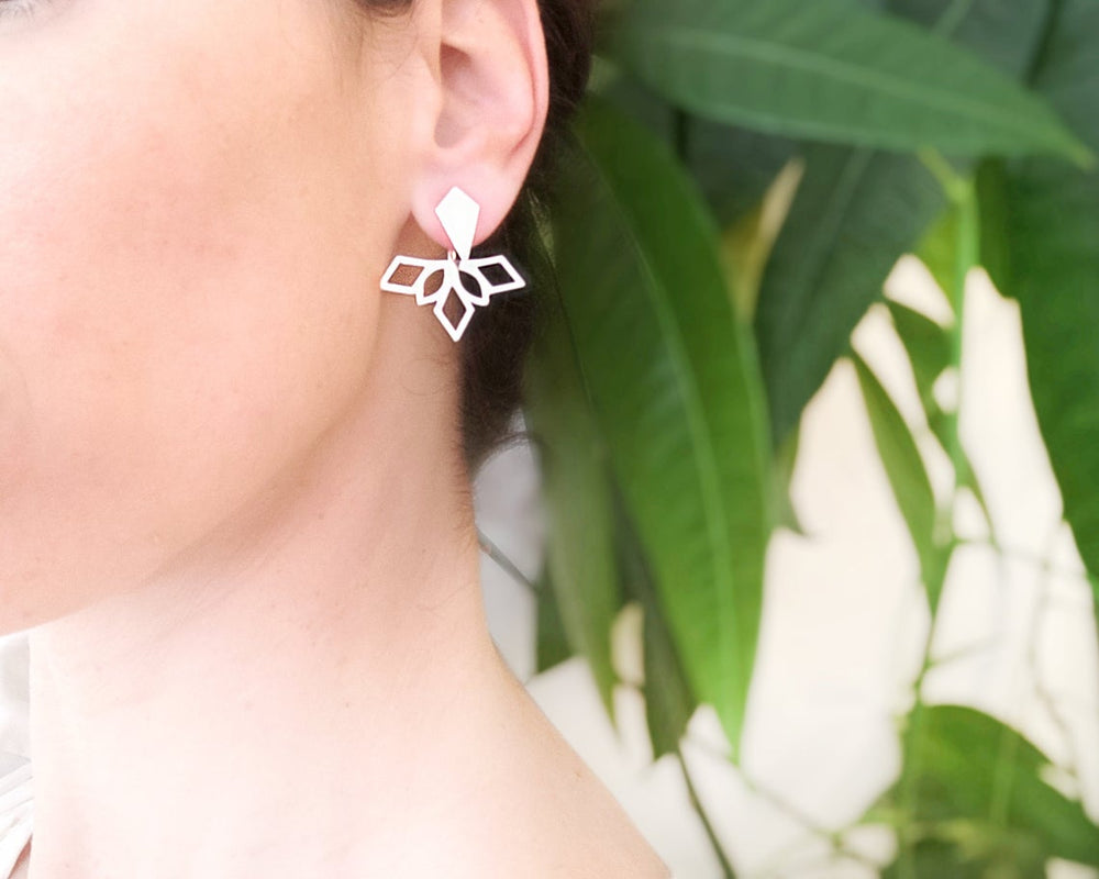 Tribal Geometric Ear Jackets Gold / Silver - Shany Design Studio Jewellery Shop