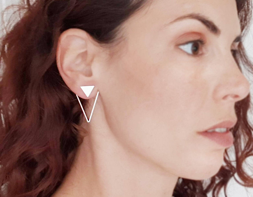 Triangle Geometric Ear Jackets Gold / Silver - Shany Design Studio Jewellery Shop