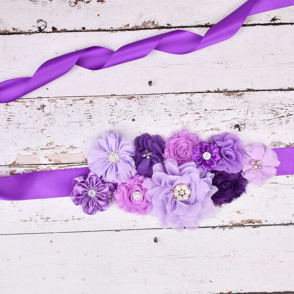 New Arrival Purple Floral Maternity Sash Pregnancy Belly Belt Photo Props Gift Baby Shower Party Accessories 5 Color Options