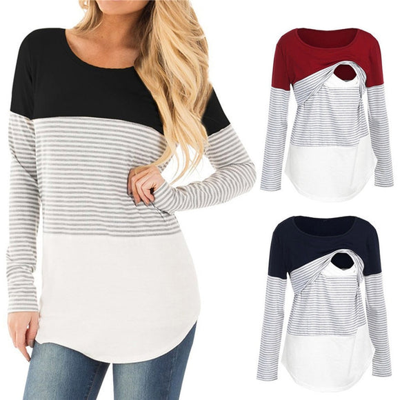 2019 New Women Mom Pregnant clothes blouse ropa de mujer shirt maternity Nursing Maternity Long Sleeved Striped tees Clothe jurk